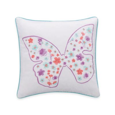 Zoe Butterfly Square Throw Pillow in White