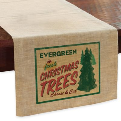 "Heritage Lace® Signs of Christmas ""Evergreen Trees"" 48-Inch Table Runner in Evergreen"