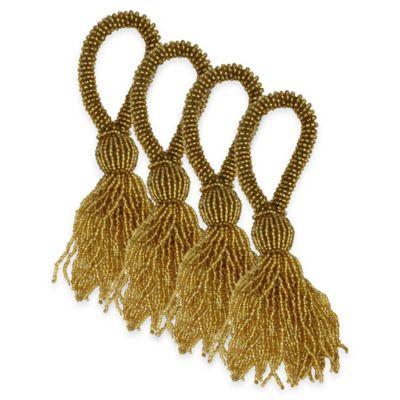 Park B. Smith Beaded Tassel Napkin Rings in Gold (Set of 4)