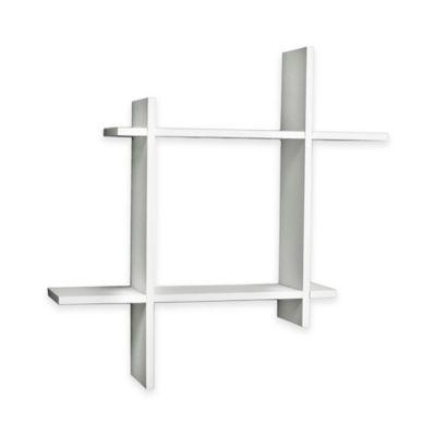 Danya B™ Asymmetric Square Floating Shelf in Laminated White