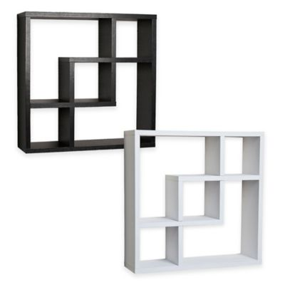 Danya B™ Geometric Intersecting Squares Laminated Wall Shelf in White