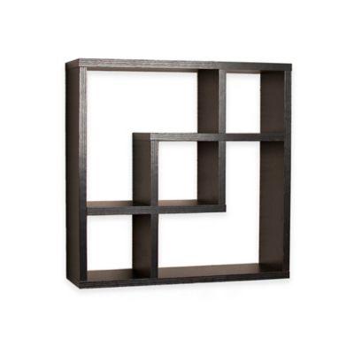 Danya B™ Geometric Intersecting Squares Laminated Wall Shelf in Black