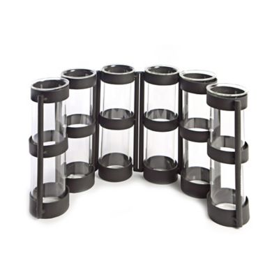 Danya B. Six-Tube Wide Hinged Vases on Ring Stands in Black