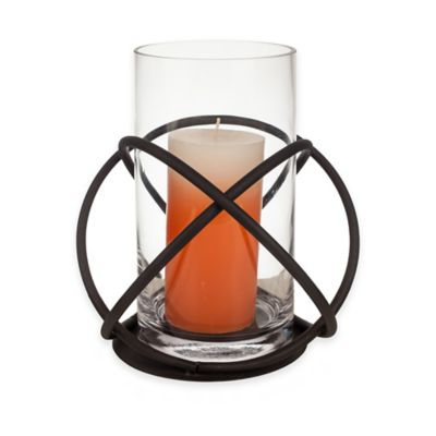 Danya B™ Glass Hurricane Candle Holder on Orbits Stand