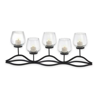 Danya B™ 5-Light Wavy Iron & Glass Hurricane Candle Holder