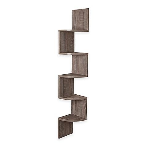 Danya b rustic weathered corner zigzag shelf in oak bed bath beyond - Danya b corner shelf ...