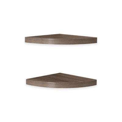 Danya B™ Weathered Radial Corner Shelves in Laminated Oak (Set of 2)
