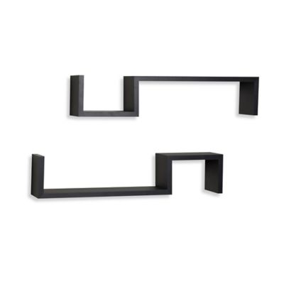"Danya B™ ""S"" Wall Mount Shelves in Laminated Black (Set of 2)"