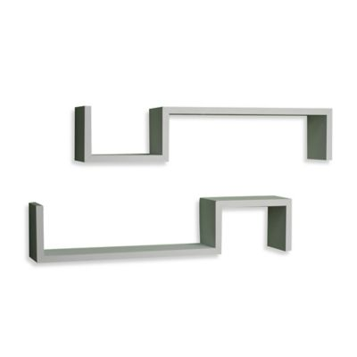 "Danya B™ ""S"" Wall Mount Shelves in Laminated White (Set of 2)"