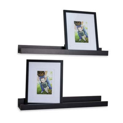 "Danya B™ ""U"" Ledge with Photo Frame in Laminated Black (Set of 2)"