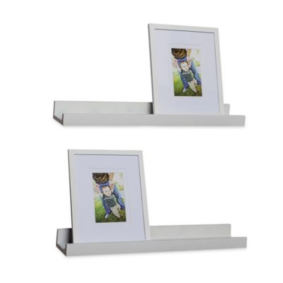 "Danya B™ ""U"" Ledge with Photo Frame in Laminated White (Set of 2)"