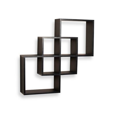 Danya B™ Intersecting Squares Wall Shelf in Laminated Black