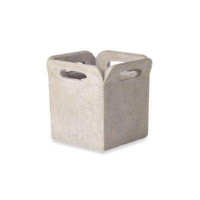 Sage Floral 5.5-Inch Cement Brown Bag Planter