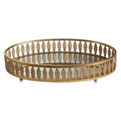 Uttermost bevan leaf tray in gold metal for Decorative bathroom tray