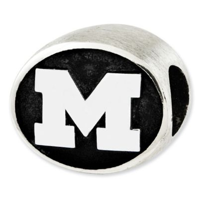 Sterling Silver Collegiate University of Michigan Antiqued Charm Bead