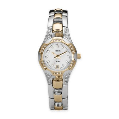 Relic® Charlotte 26mm Mother of Pearl Dial Crystal-Accented Watch in Two-Tone Stainless Steel