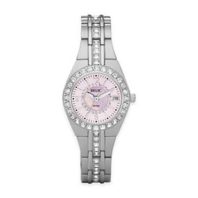 Relic® Queen's Court 26mm Pink Dial Crystal-Accented Watch in Silvertone Stainless Steel