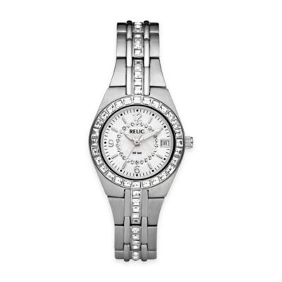 Relic® Queen's Court 26mm White Dial Crystal-Accented Watch in Silvertone Stainless Steel