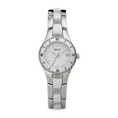 Relic® Charlotte 25mm White Ceramic Watch in Stainless Steel