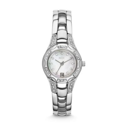Relic® Charlotte Ladies' 25mm Mother of Pearl Dial Crystal-Accented Watch in Stainless Steel