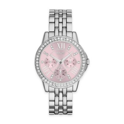 Relic® Layla Ladies' 35mm Pink Dial Crystal-Accent Watch in Silvertone Stainless Steel