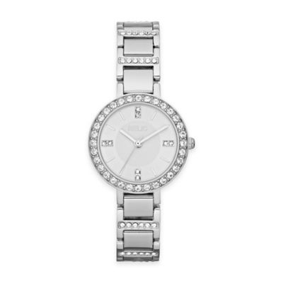 Relic® Kerri Ladies' 27mm Round White Dial Crystal-Accented Watch in Silvertone Stainless Steel