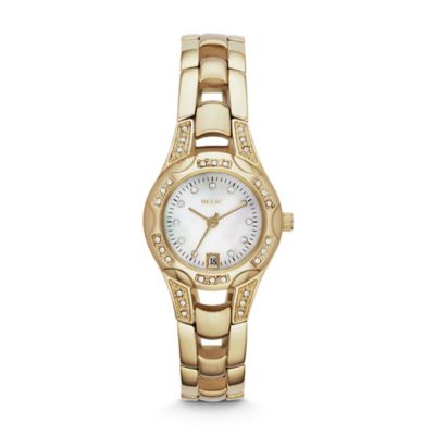 Relic® Charlotte 24.5mm Mother of Pearl Dial Crystal-Accented Watch in Goldtone Stainless Steel