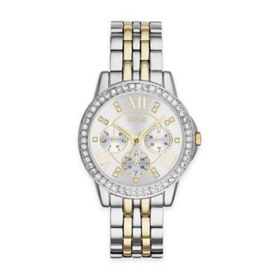 Silver Gold Crystal-Accent Watch