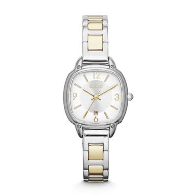Relic® Corinne Ladies' 28mm Square Dial Watch in Two-Tone Stainless Steel