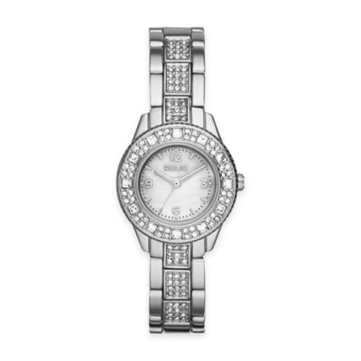 Relic® Sophia Ladies' 26mm Mini Crystal-Accented Watch in Silvertone Stainless Steel