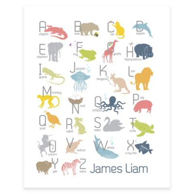 Boy Alphabet Animals Canvas Wall Art in White/Blue