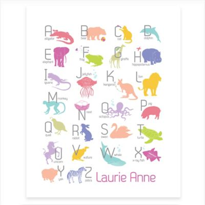 Girl Alphabet Animals Canvas Wall Art in White/Pink