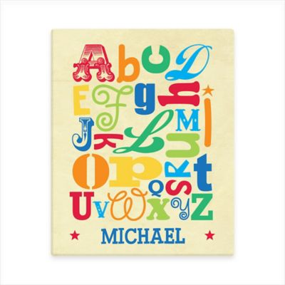 Boy Alphabet Canvas Wall Art in Cream/Blue