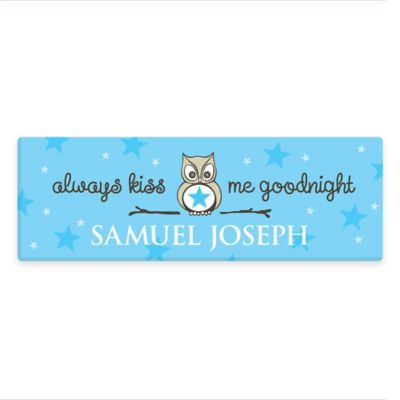 Boy's Kiss Me Goodnight Canvas Wall Art in Blue