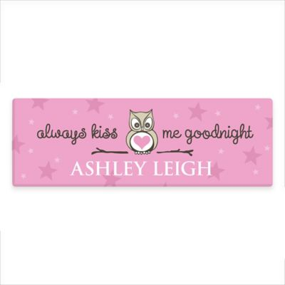 Girl's Kiss Me Goodnight Canvas Wall Art in Pink