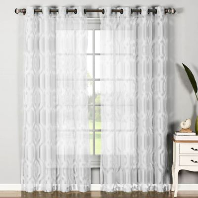 Buy olina 84 inch printed sheer window curtain panel in pink from bed