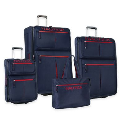 Nautica® Maritime II 4-Piece Expandable Rolling Luggage Set in Navy/Red