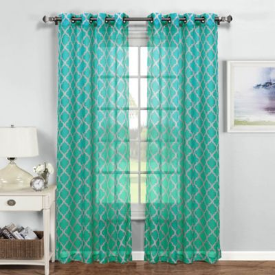 Buy Grey And Turquoise Window Curtains From Bed Bath Beyond