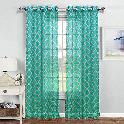 Buy Quatrafoil Printed 84 Inch Grommet Top Sheer Window Curtain Panel In Turquoise White From