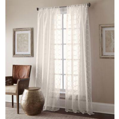 Manhattan Sheer 63-Inch Rod Pocket Window Curtain Panel in Ivory