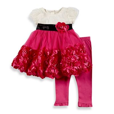 Nannette Baby® Size 12M 2-Piece Rosette Dress and Legging Set in Cream/Pink