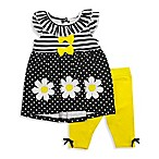 Nannette Baby® Size 3-6M 2-Piece Daisy Dress and Legging Set in Black/Yellow
