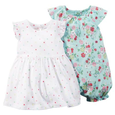 carter's Size 12M 3-Piece Flutter Sleeve Dot/Floral Dress and Romper Set in White/Aqua