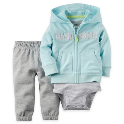 "carter's® Size 12M 3-Piece ""Handsome"" Cardigan, Bodysuit, and Pant Set in Blue/Grey"
