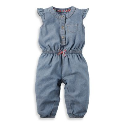 carter's® Size 3M Flutter Sleeve Coverall with Floral Accents in Chambray
