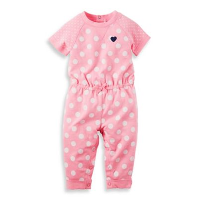 carter's© Newborn Dots Short Sleeve Terry Romper in Pink