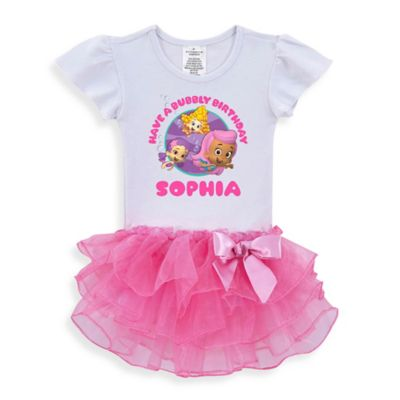 "Nickelodeon™ Size 2T ""Bubble Guppies"" ""Have a Bubbly Birthday"" Tutu T-Shirt in White/Pink"