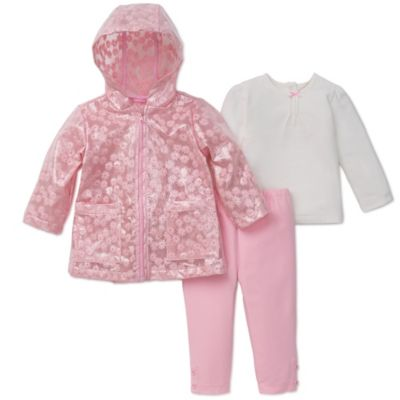 Little Me® Size 12M 3-Piece Hooded Rain Jacket, Legging, and Smocked Top Set in Pink/White