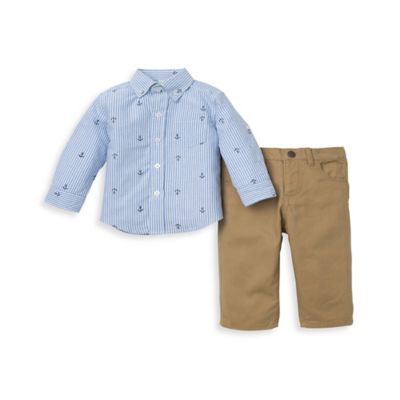 Little Me® Size 12M 2-Piece Anchor Stripe Shirt and Pant Set in Blue