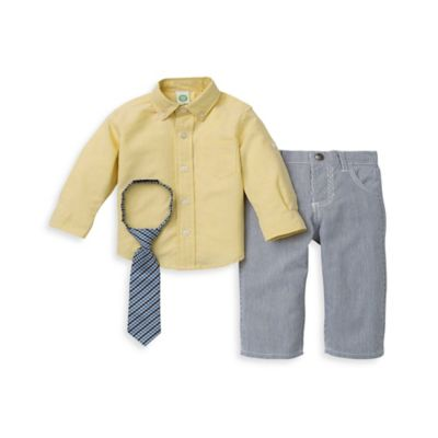 Little Me® Size 12M 2-Piece Oxford Shirt and Pant Set in Yellow